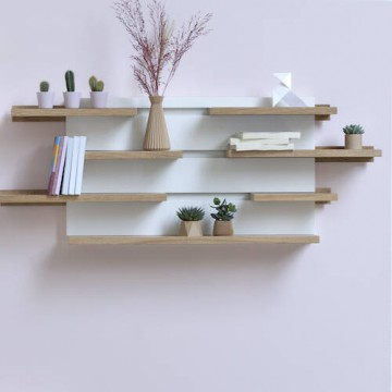 Modular shelves Sline, wood and customizable colours. Le point D.