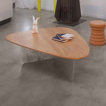 Coffee table aero, plate in wood, steel base, Le point D