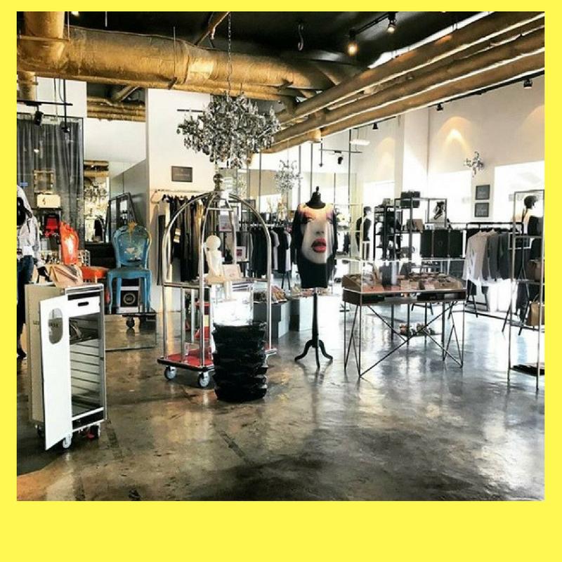 Montage photo intérieur boutique O Concept Store sur fond jaune