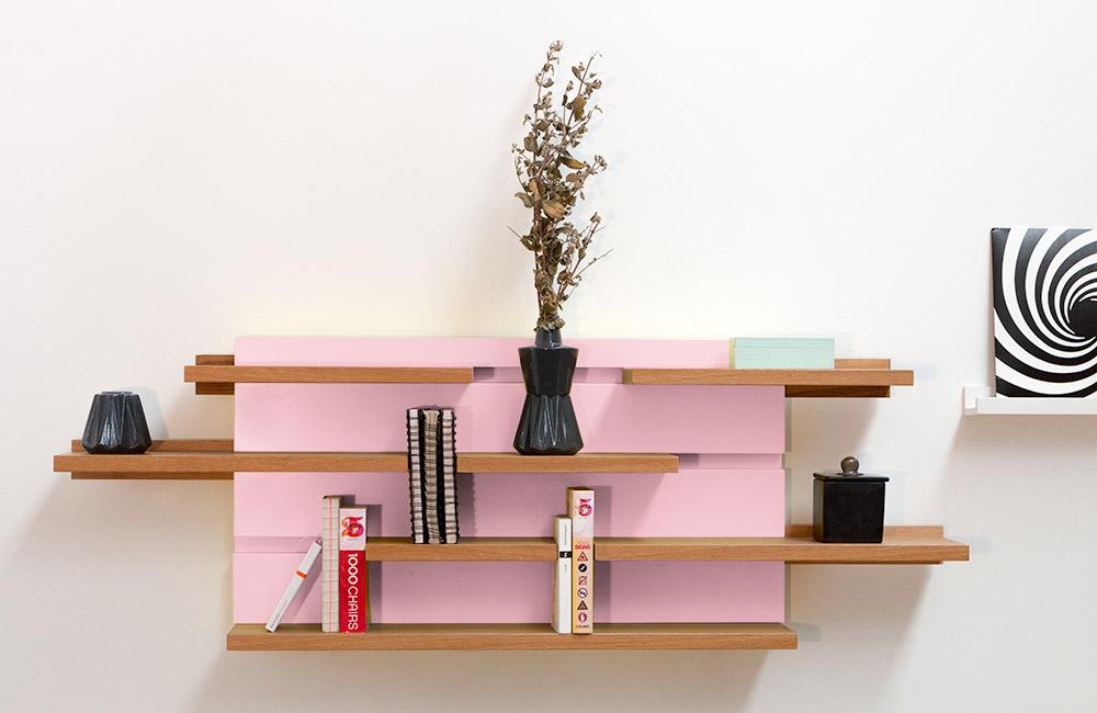 étagère rose modulable
